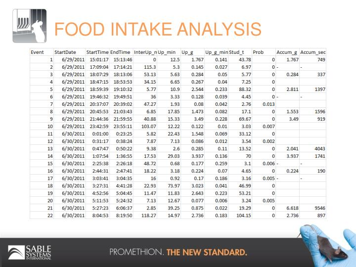 FOOD INTAKE ANALYSIS