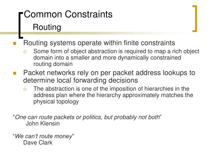 Common Constraints