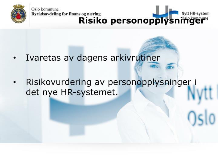 Risiko personopplysninger