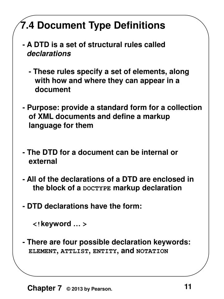 7.4 Document Type Definitions