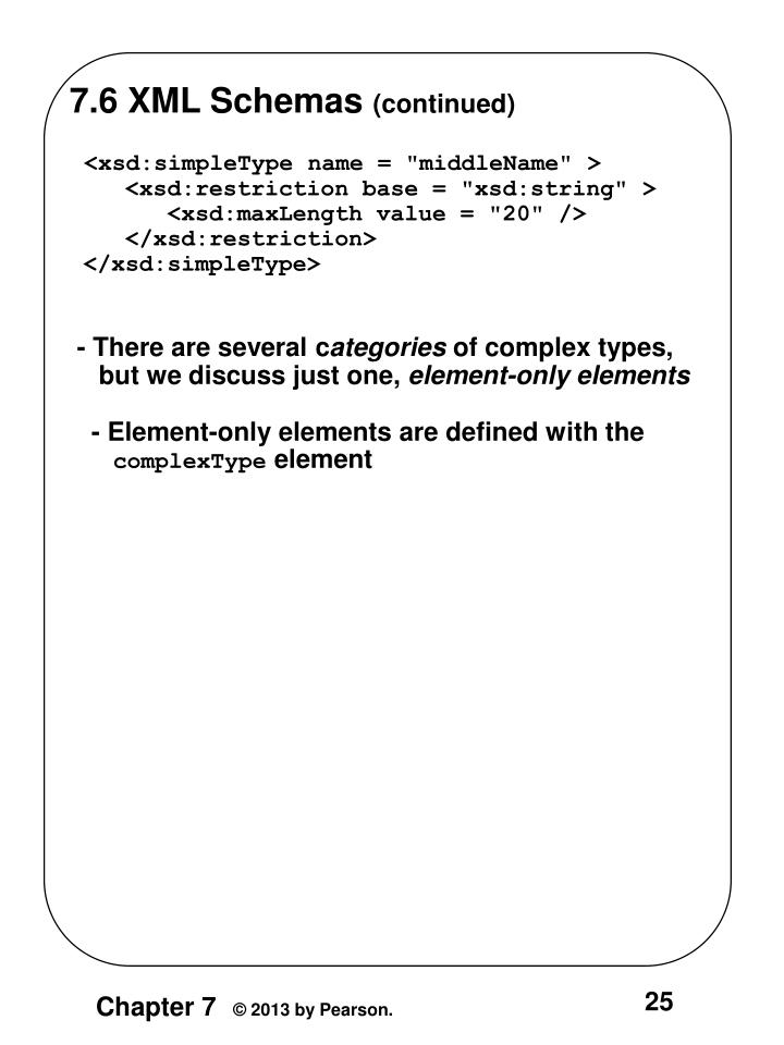 7.6 XML Schemas