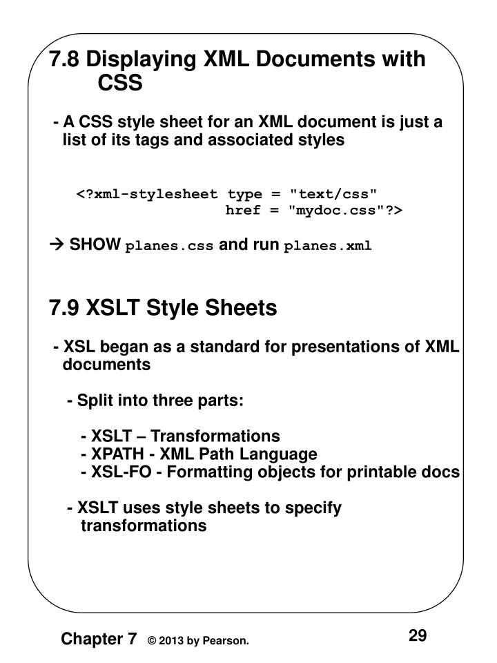 7.8 Displaying XML Documents with