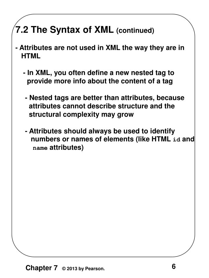 7.2 The Syntax of XML