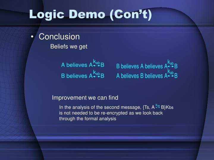 Logic Demo (Con't)