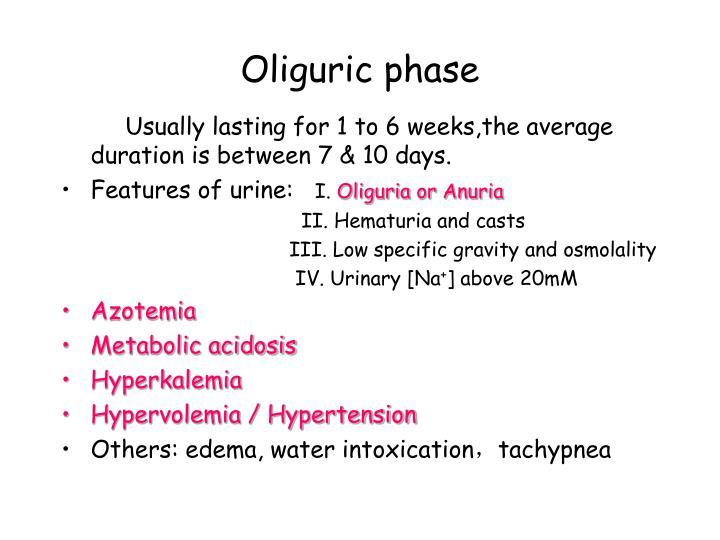 Oliguric phase
