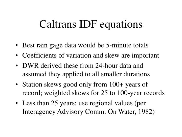 Caltrans IDF equations