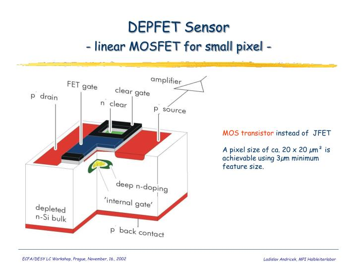 Depfet sensor linear mosfet for small pixel