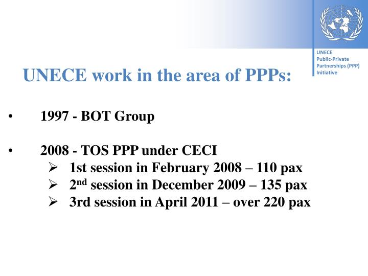UNECE work in the area of PPPs: