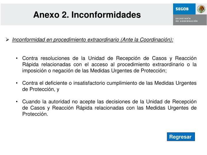 Anexo 2. Inconformidades
