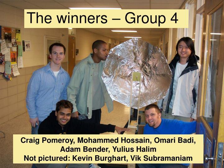 The winners – Group 4
