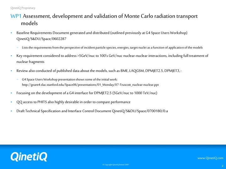 Wp1 assessment development and validation of monte carlo radiation transport models