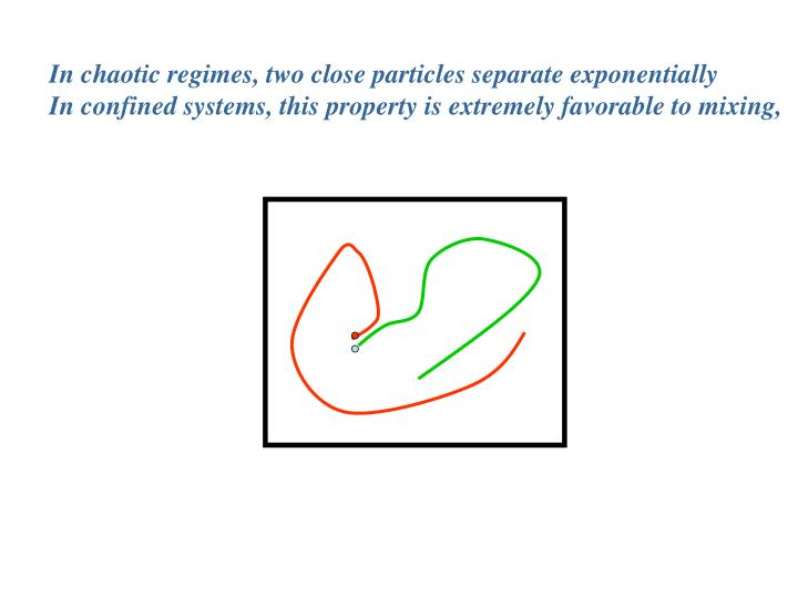 In chaotic regimes, two close particles separate exponentially