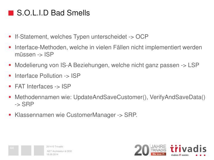 S.O.L.I.D Bad Smells