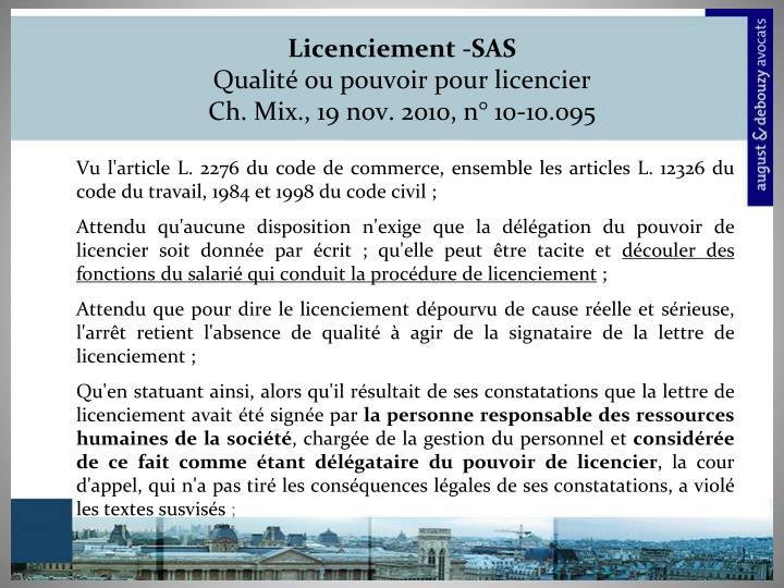 Licenciement -SAS