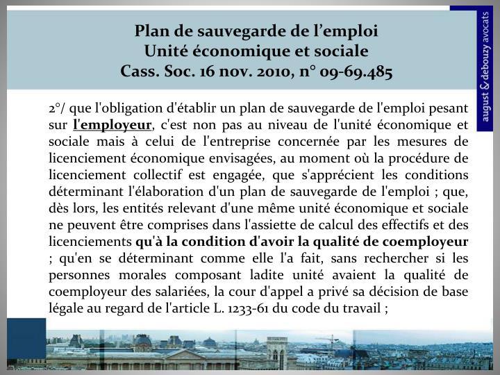 Plan de sauvegarde de l'emploi