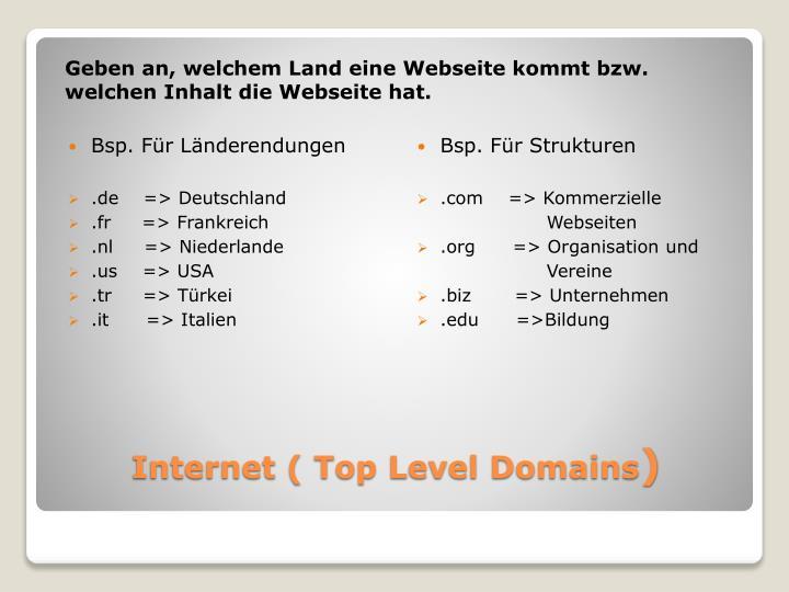 Geben an, welchem Land eine Webseite kommt bzw. welchen Inhalt die Webseite hat.