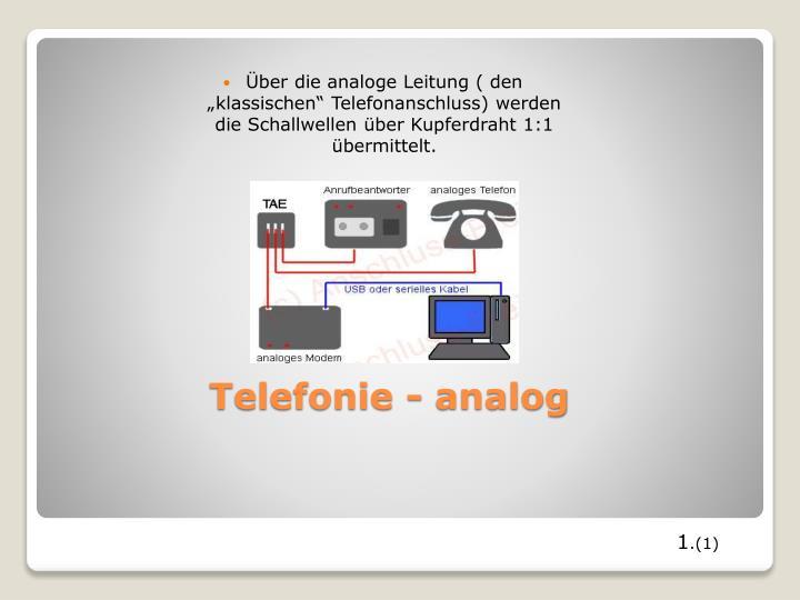"""Über die analoge Leitung ( den """"klassischen"""" Telefonanschluss) werden die Schallwellen über Kupferdraht 1:1 übermittelt."""
