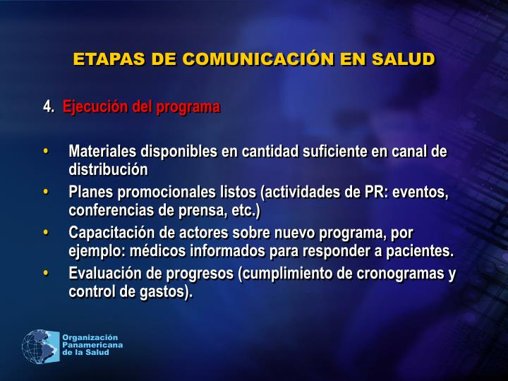 ETAPAS DE COMUNICACIÓN EN SALUD
