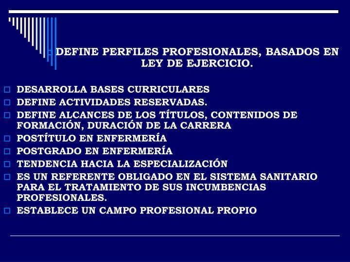 DEFINE PERFILES PROFESIONALES, BASADOS EN LEY DE EJERCICIO.