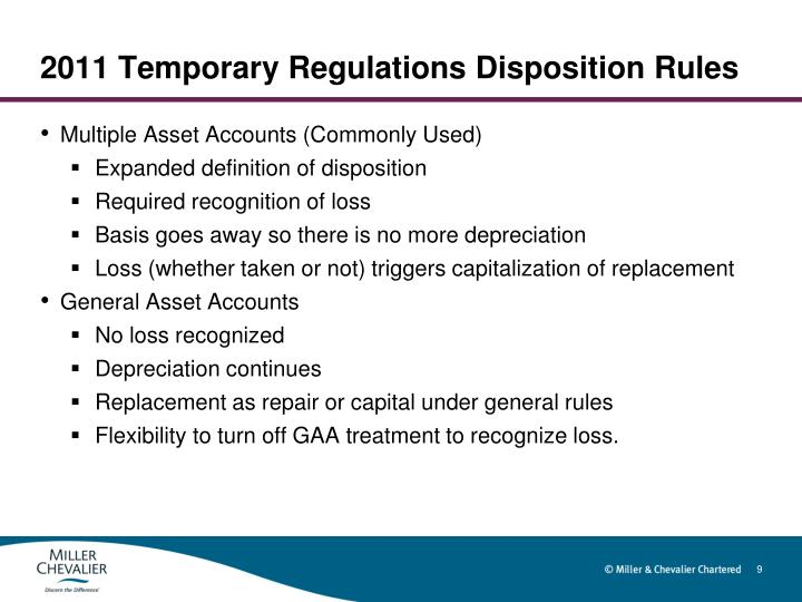 2011 Temporary Regulations Disposition Rules