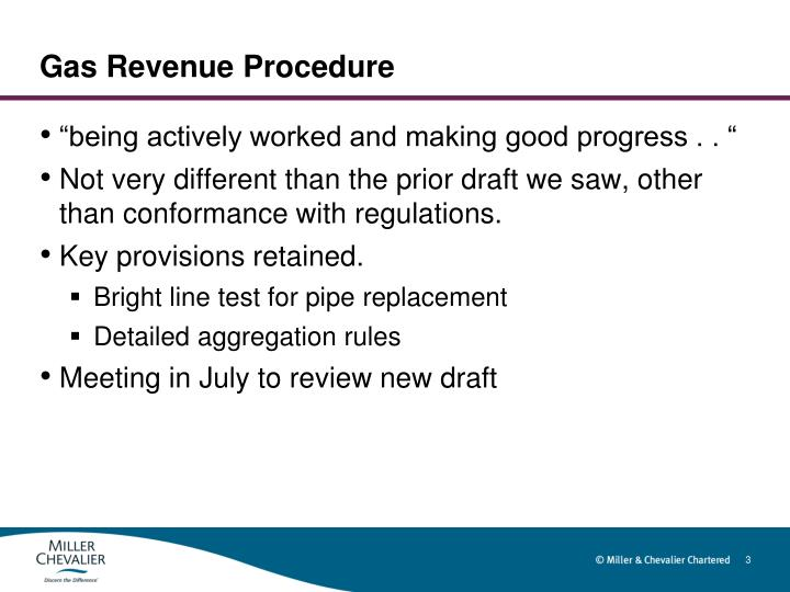 Gas revenue procedure