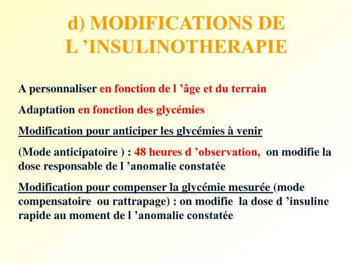 d) MODIFICATIONS DE L 'INSULINOTHERAPIE