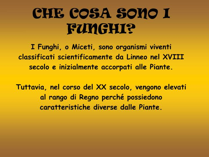 I Funghi, o Miceti, sono organismi viventi classificati scientificamente da