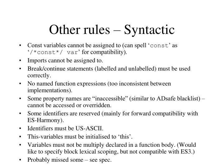 Other rules – Syntactic