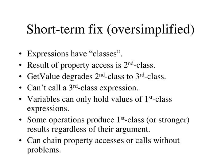 Short-term fix (oversimplified)