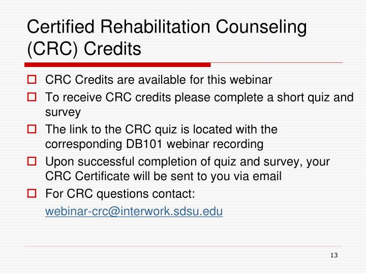 Certified Rehabilitation Counseling (CRC) Credits