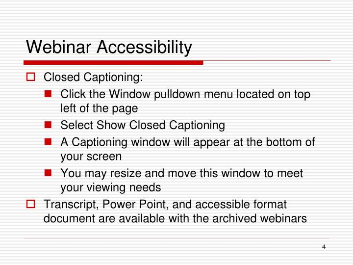 Webinar Accessibility