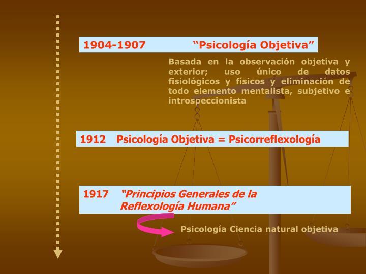 """1904-1907 """"Psicología Objetiva"""""""