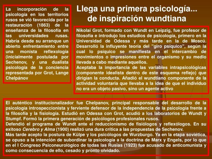 Llega una primera psicología...