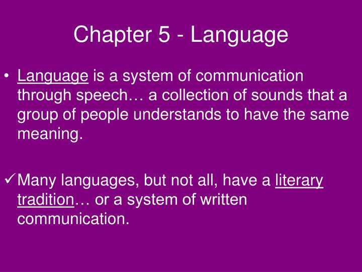 Chapter 5 - Language
