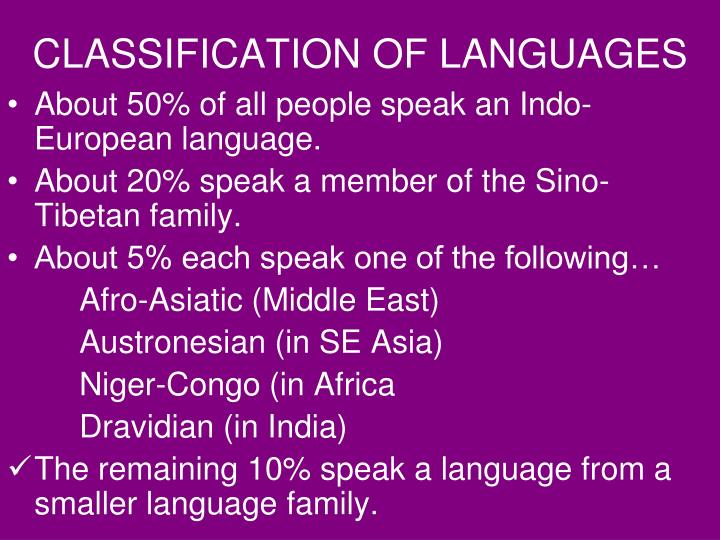 CLASSIFICATION OF LANGUAGES