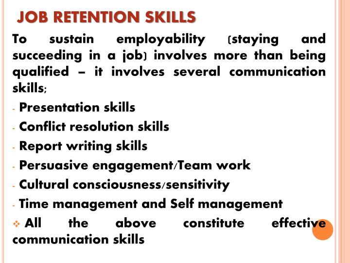 JOB RETENTION SKILLS