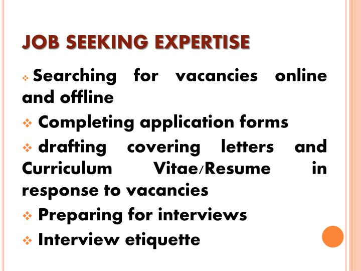 JOB SEEKING EXPERTISE