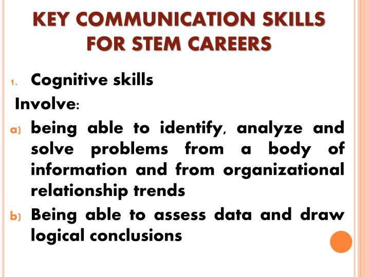 KEY COMMUNICATION SKILLS FOR STEM CAREERS