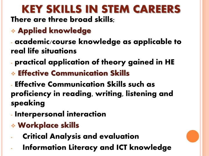 KEY SKILLS IN STEM CAREERS