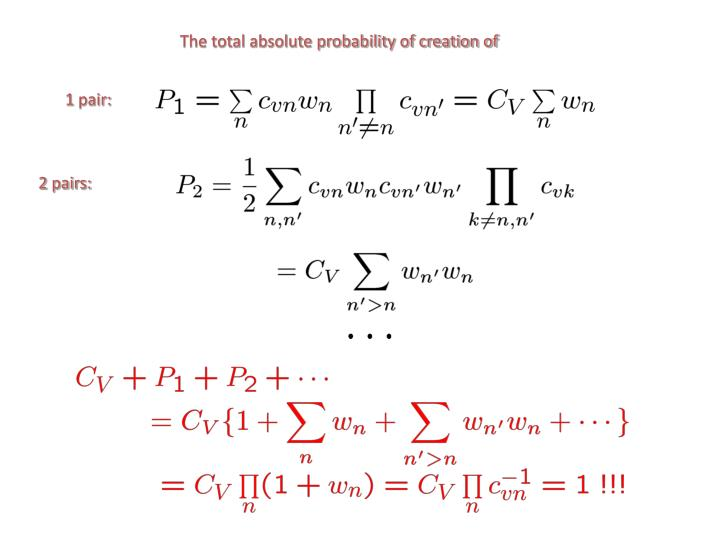 The total absolute probability of creation of