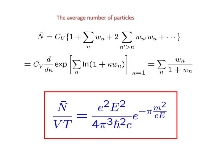 The average number of particles