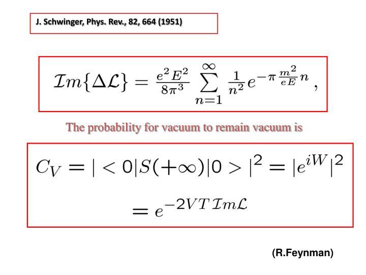J. Schwinger, Phys. Rev., 82, 664 (1951)