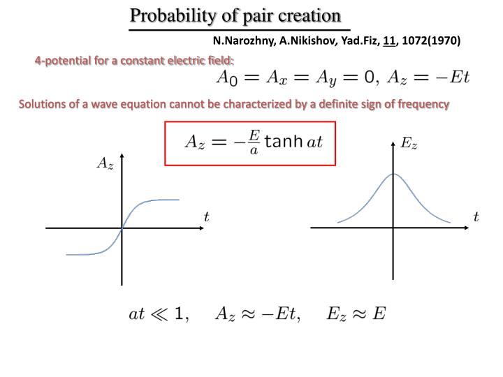 Probability of pair creation