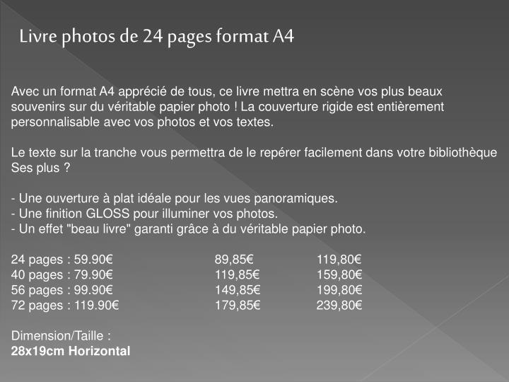 Livre photos de 24 pages format