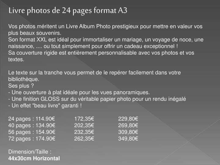 Livre photos de 24 pages format A3