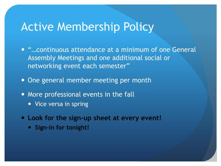 Active Membership Policy