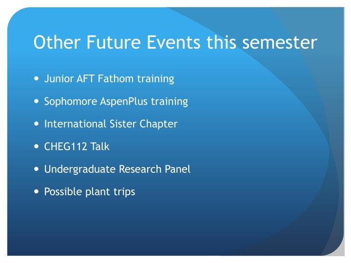 Other Future Events this semester