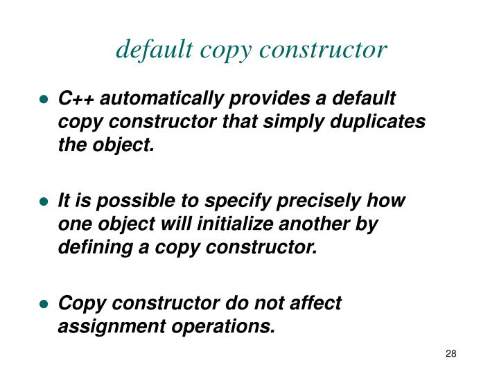 default copy constructor