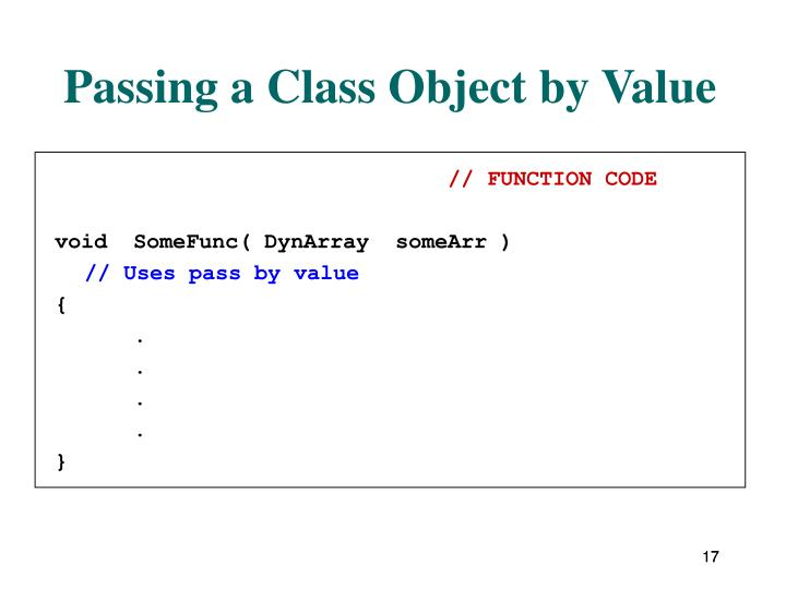 Passing a Class Object by Value