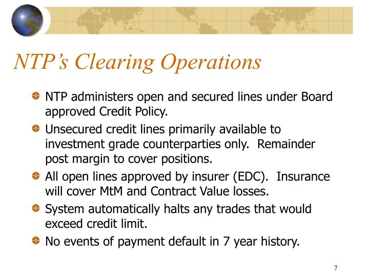 NTP's Clearing Operations